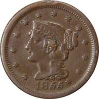 1855 Knob on Ear 1c Braided Hair Large Cent Penny Coin VF Very Fine