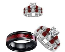 His stainless steel Black and Her Red cz Bridal Band engagement wedding ring set