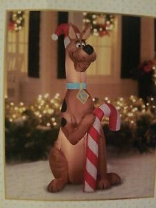 Scooby-Doo With Candy Cane Christmas Airblown Inflatable 5.5' Santa Hat Dog
