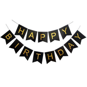 Happy Birthday Bunting Banner Glitter Gold Letter Flag Birthday Party Decoration