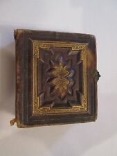 Antique Leather Photo Album Brass Clasp with 35 Tintypes