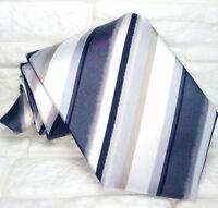 Cravatta uomo Regimental grigio e nero JACQUARD 100% seta Made in Italy RP€ 38