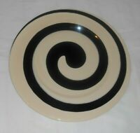 """Black and Off-White SWIRL Art Pottery Plate 12.25"""" diameter 2.5 pounds Unmarked"""