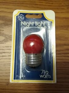 11 NEW GE INCANDESCENT 7-1/2 WATT RED NIGHT LIGHT BULBS 71/2S/CR