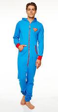 Superman Jumpsuit mit Kapuze Herren Einteiler Overall Anzug neu
