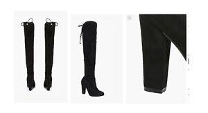 Boohoo Block Heel Over The Knee With Tie Details - Size AUS 8 - Black
