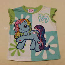 My Little Pony Girls White Blue Green Printed T Shirt Size 2 New
