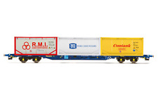 Hornby R6957 OO Gauge Tiphook, KFA Container wagon, 93437, with 3 x 20' tanktain