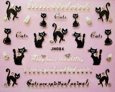 Halloween Nail Art Stickers Decals Scary Black Cats Silver Pussy Cat Hearts 84
