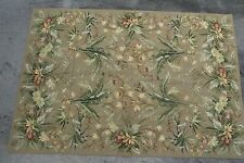 "HAND CRAFTED WOOL FLORAL NEEDLEPOINT RUG WITH TROPICAL FOLIAGE 48-1/2"" X 70-1/2"""