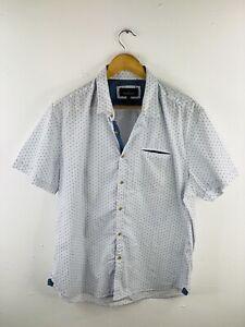 London Fog Men's Short Sleeve Button Up Collared Shirt Size 2XL White Blue