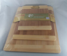 Cook's Corner 100% Bamboo 3 Pc Two-Tone Cutting Board Set NEW