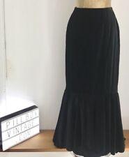 Vintage 1970s Handmade  Black Velvet Maxi Skirt with bottom hem frill