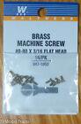 Walthers 947-1052 Brass Machine Screw 16 in pkg  0-80 x 3/16 Flat Head