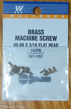 Walthers #947-1052 Brass Machine Screw (16 in pkg) #0-80 x 3/16 Flat Head