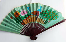 Large Asian Fan Hand Painted 52 X 30 Vintage Peoples Republic Of China
