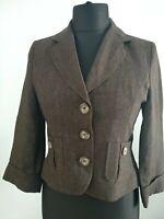 Hobbs 100% Linen Brown Tailored Jacket Blazer Buttons Pockets Chocolate UK 10