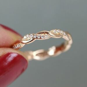 Petite Infinity Full Eternity Band Rope Ring Stackable Ring Rose Gold Silver