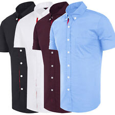 Mens Short Sleeve Shirt Button Up Business Formal Party Casual Summer Tee Tops