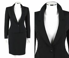 VALENTINO Black 100% Silk Pin Tuck Detail Blazer Jacket Skirt Suit Set Size 8