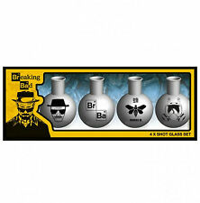 Official Breaking Bad Set Of 4 Flask Shot Glasses Novelty Licensed Tv Gift