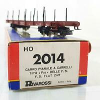 VINTAGE RIVAROSSI  2014 HO TRAINS - ITALIAN FS LIVERY FLAT CAR IN EXCELLENT BOX