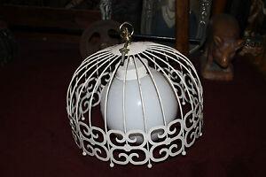 Vintage Mid Century Modern Metal Chandelier Light Fixture Bird Cage Design Large