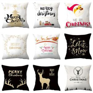 18'' Merry Christmas Cushion Cover Throw Pillow Case Xmas Home Sofa Supplies