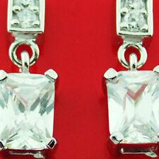 OL138 GENUINE REAL 925 STERLING SILVER DIAMOND SIMULATED STUD DROP EARRINGS