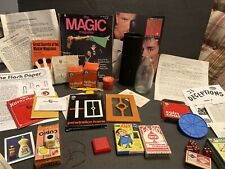 VINTAGE MAGICIANS LARGE COLLECTION LOT W/BOXED TRICKS CARDS BOOKS MAGAZINE GLASS