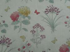 Sanderson Curtain Fabric 'Harebells & Violets' 3.8 METRES Peony/Bayleaf - Linen