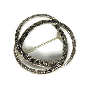 Milgrain Marcasite Sterling Silver Triple Interlocking Rings Brooch