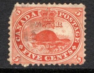 Canada 1859 Beaver #15 used 5c Vermillion, light cancel, corner clip, cv $37.50