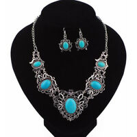 Charm Turquoise Pendant Bib Choker Chain Statement Necklace Earrings Jewelry Set