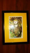 "Cuban Artist Charo Original Signed Oil-Mix  Painting  Chamart ""LADY WITH A BIRD"""