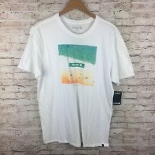 New Hurley Mens Large White Green Yellow Beach Waves Graphic T-Shirt Tee