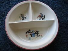 """Childs-divided-food dish-ceramic-nursery rhyme decals-8"""" diameter-1930-s-40's"""