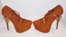 Tan Skull Chained Maryjane High Heels Womens Shoes Size 7