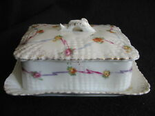 VICTORIAN HAND-PAINTED CONTINENTAL PORCELAIN SARDINE DISH & COVER  c.1900 EX