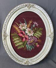 Vintage Ornate Large Oval Frame Finished Needlepoint Floral Bouquet Flowers