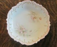 LIMOGES FRANCE SMALL BOWL WITH FLOWERS  BEAUTIFUL!!  PASTEL PINK AND GOLD NICE!