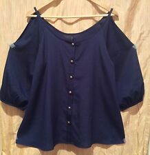 Final Touch Navy Blue Cold Shoulder Boho Bishop Sleeves Button Up Blouse Size M
