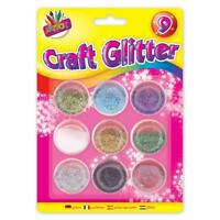 9 Metallic Colour Glitter Pots - Arts Crafts Decorate Assorted Pack Stationary