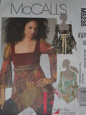 Empire Top Misses size 12-20 McCalls 5235 Sewing Pattern