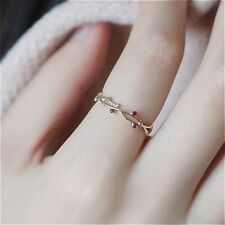 Simple Fashion 18KGold Red Ruby Bridal Wedding Leaf Ring Anniversary Gift Sz5-10