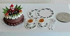 Dollhouse Miniature Santa Cake Dishes & Filled Cups Bright deLights 1;12 scale