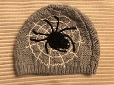 NWT Baby Gap Knit Spider & Web Halloween Hat 12-18 Months Gray