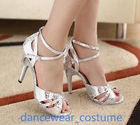 Ladies Women Samba Latin Tango Ballroom Salsa Dance Shoes Heels Sandals EU 34-42