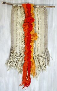Mid Century Modern Yarn Wool Tapestry Orange Red Yellow Fiber Art Sculpture Wood