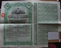 The Russian Tobacco Company £100 bond of 100 shares, 1916